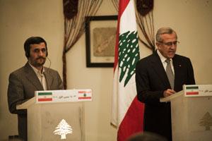 Conférence de presse de Mahmoud Ahmadinejad à Beyrouth, le 13 octobre 2010. Photo : Juliette Robert/Youpress