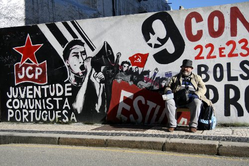 Fresque des Jeunesses communistes à Porto. Crédits:D.Breger/Youpress