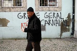 Tag pour la grève générale à Lisbonne (Crédit : David Breger)