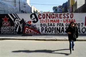 Tag des jeunesses communistes à Porto (Crédit : David Breger)