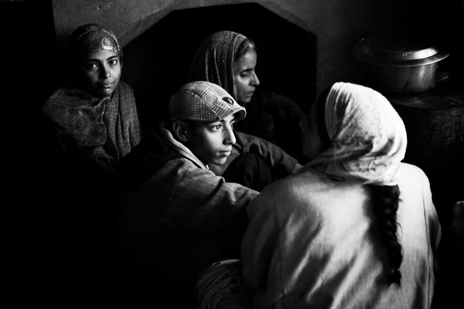 A family and neighbours in Khudhalem, north Kashmir