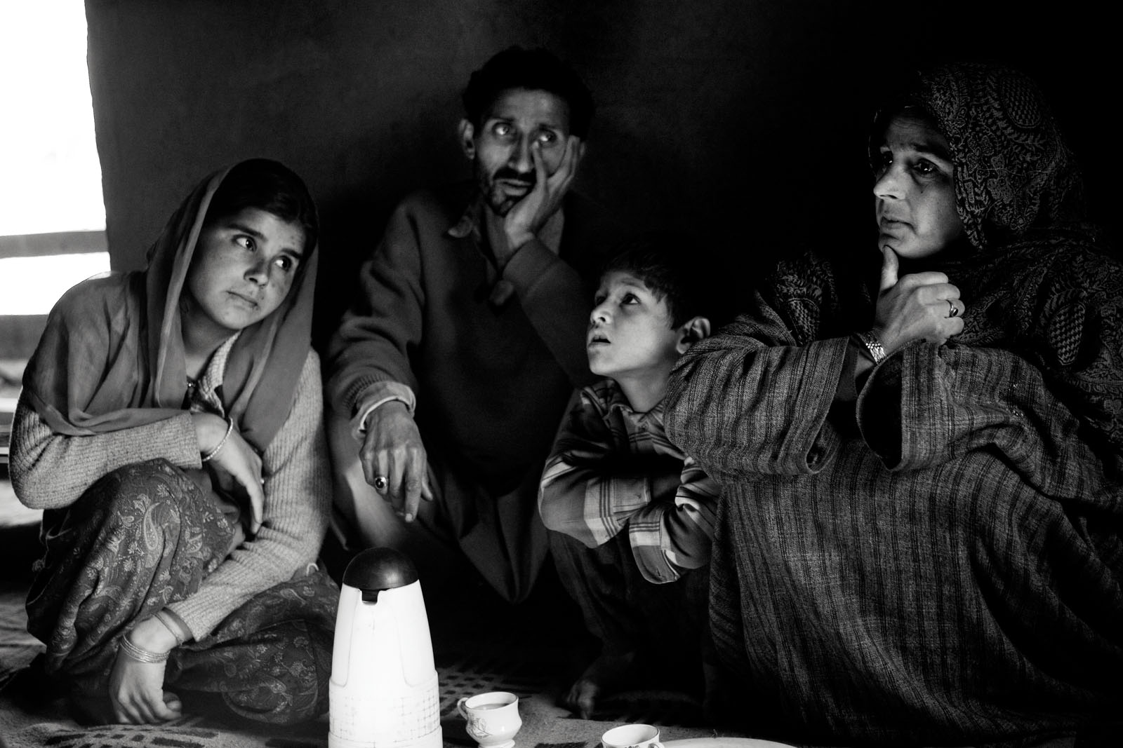 A family and neighbour in Shaladrjan Nowshera, north Kashmir