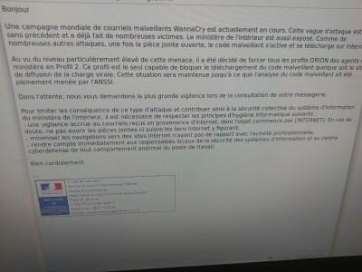 Alerte email reçue dans un service du ministère de l'Intérieur en mai 2017.