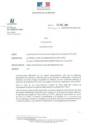 Note interne du ministère de la Défense, 2015.