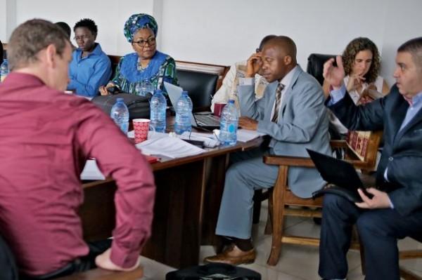 Me Alice Nkom, fondatrice de l'Adefho, avec son équipe © James Keogh