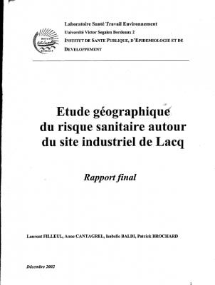 Etude géographique du risque sanitaire autour du bassin industriel de Lacq